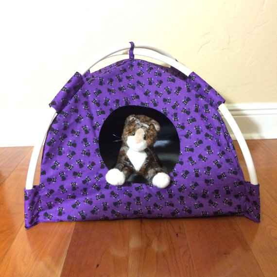 Purple with little black kitties modern cat tent for Cat tent
