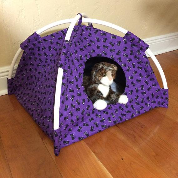 2-Purple-with-Little-Black-Kitties-Modern-Cat- ... & Purple with Little Black Kitties Modern Cat Tent ...